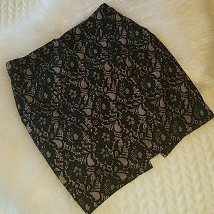 Express Black lace above knee skirt